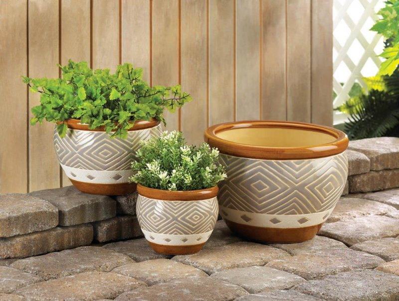 Image 1 of Earth-Tone Colors Ceramic Flower Pots w/ Drain Hole Set of 3 Varied Sizes
