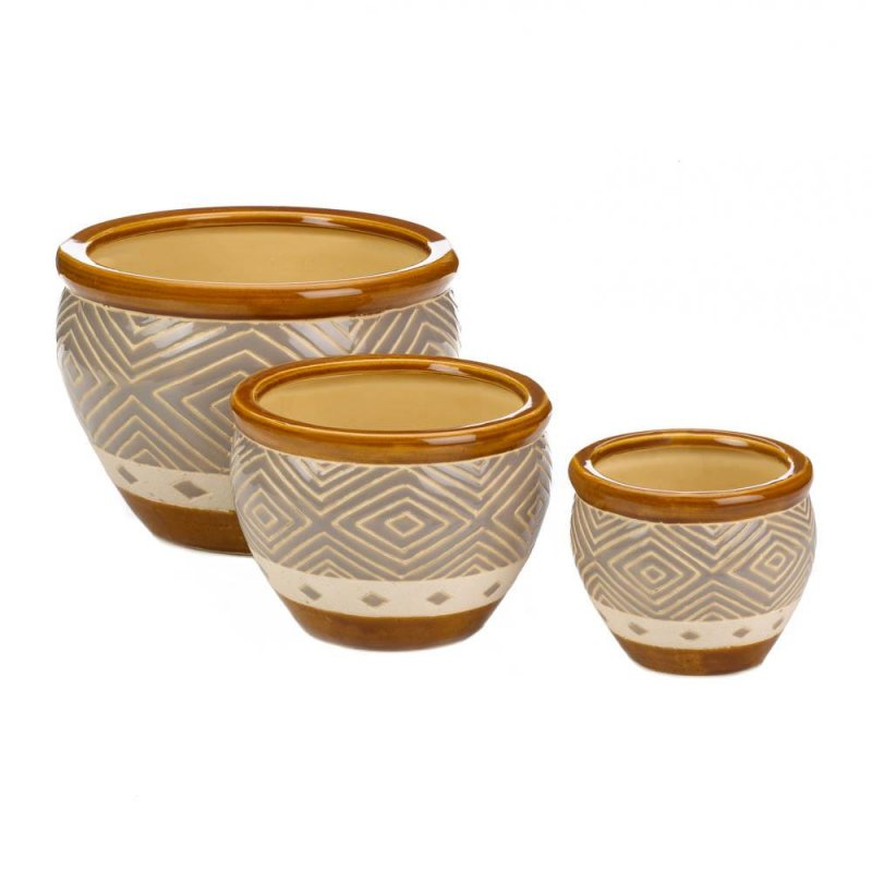 Image 0 of Earth-Tone Colors Ceramic Flower Pots w/ Drain Hole Set of 3 Varied Sizes