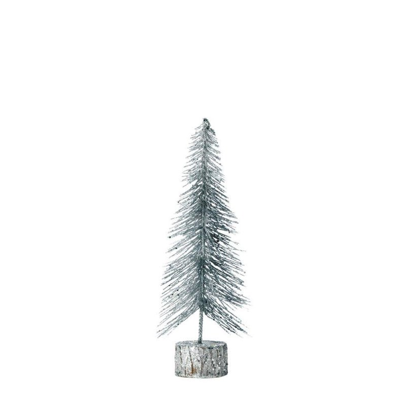 Image 0 of Small Tabletop Silver Glitter Tree Figurine Christmas Decor