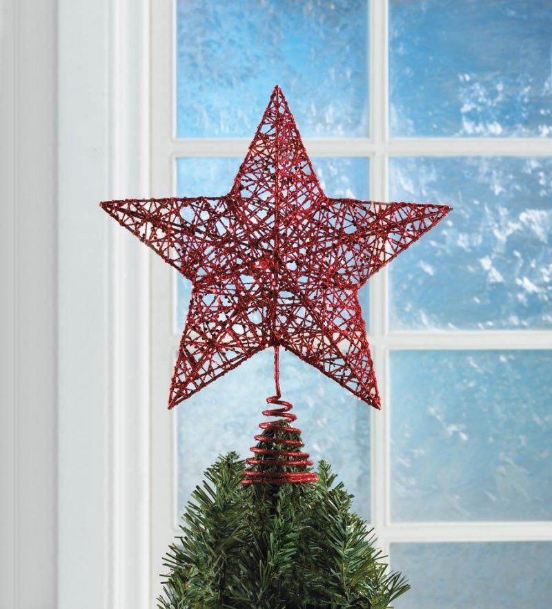 Image 0 of Modern Design Red Star Christmas Tree Topper Glittery Finish Holiday Decor