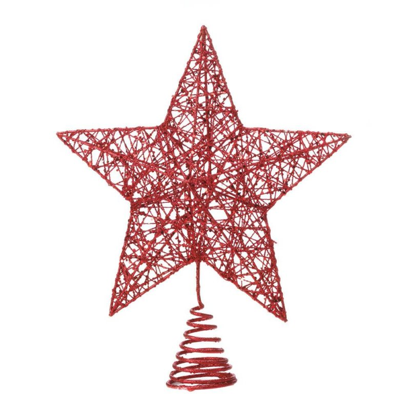 Image 1 of Modern Design Red Star Christmas Tree Topper Glittery Finish Holiday Decor