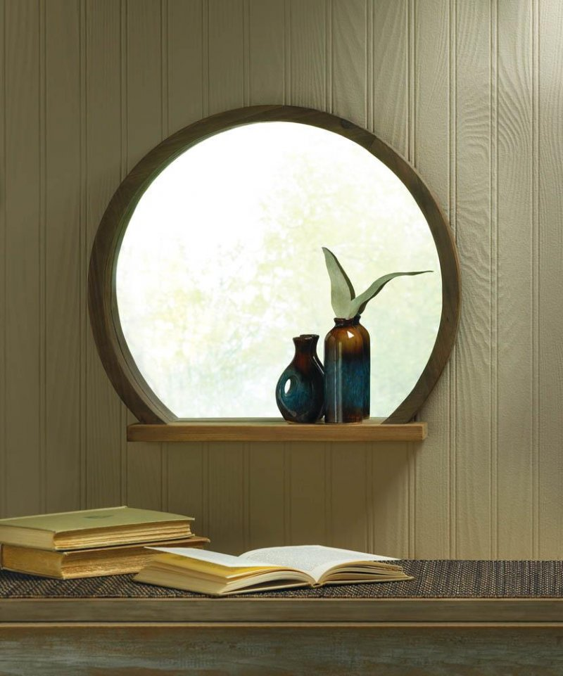 Image 0 of Round Wooden Country Chic Wall Mirror w/ Small Shelf Two-Toned Wood Design