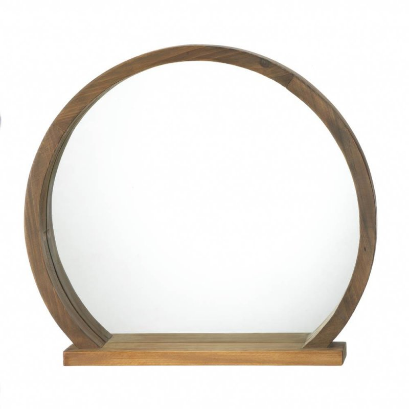 Image 1 of Round Wooden Country Chic Wall Mirror w/ Small Shelf Two-Toned Wood Design