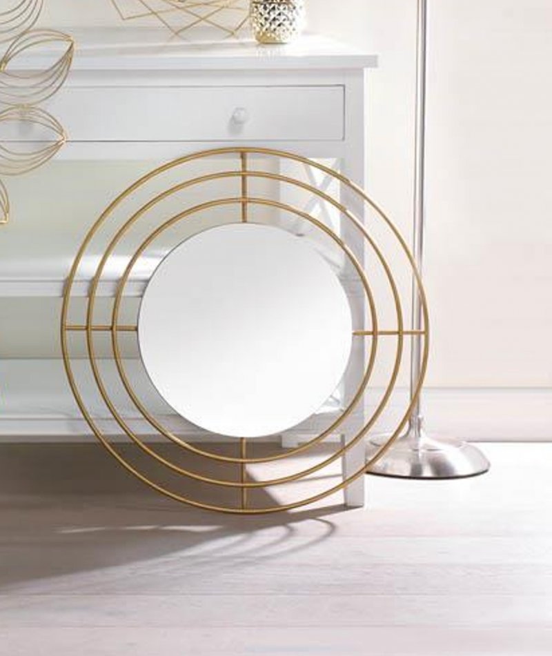 Image 0 of Modern Round Wall Mirror with Gold Iron Circle Frame