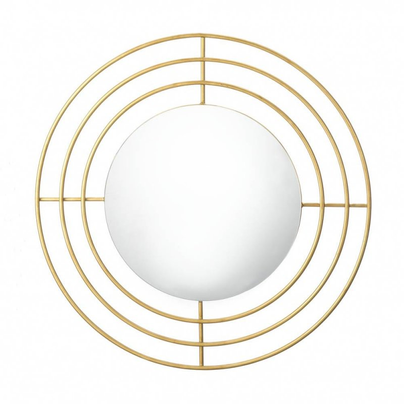 Image 1 of Modern Round Wall Mirror with Gold Iron Circle Frame