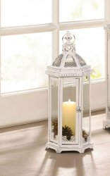 Distressed White Chic Grecian Style Candle Lantern 18 High 19.5 High w/ Handle