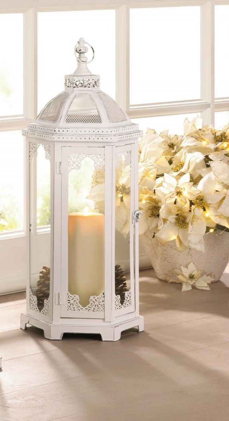 Image 0 of Large Distressed White Chic Grecian Style Candle Lantern over 2 Feet High
