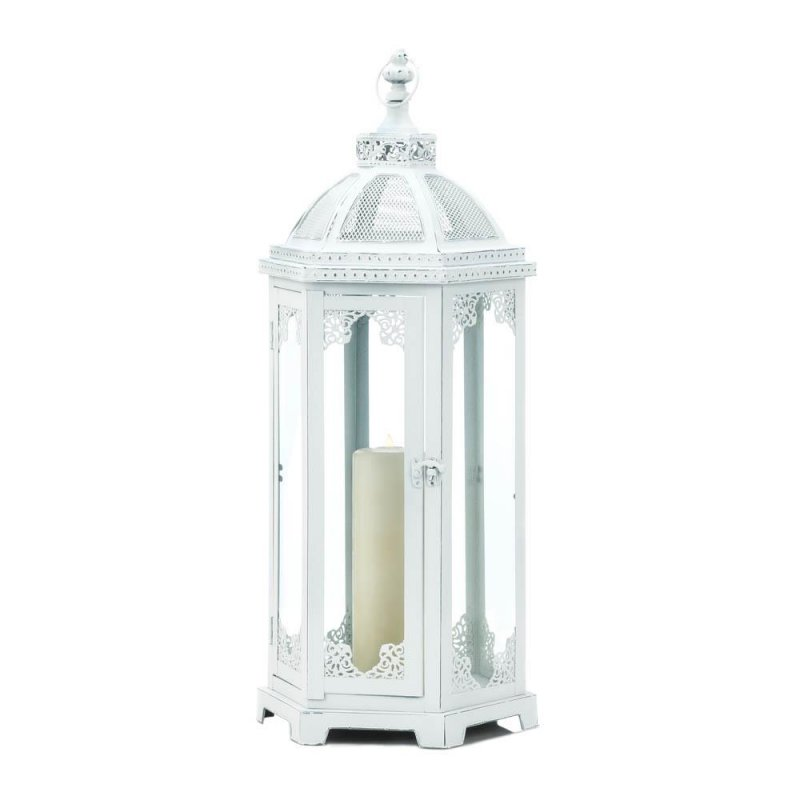 Image 1 of Large Distressed White Chic Grecian Style Candle Lantern over 2 Feet High