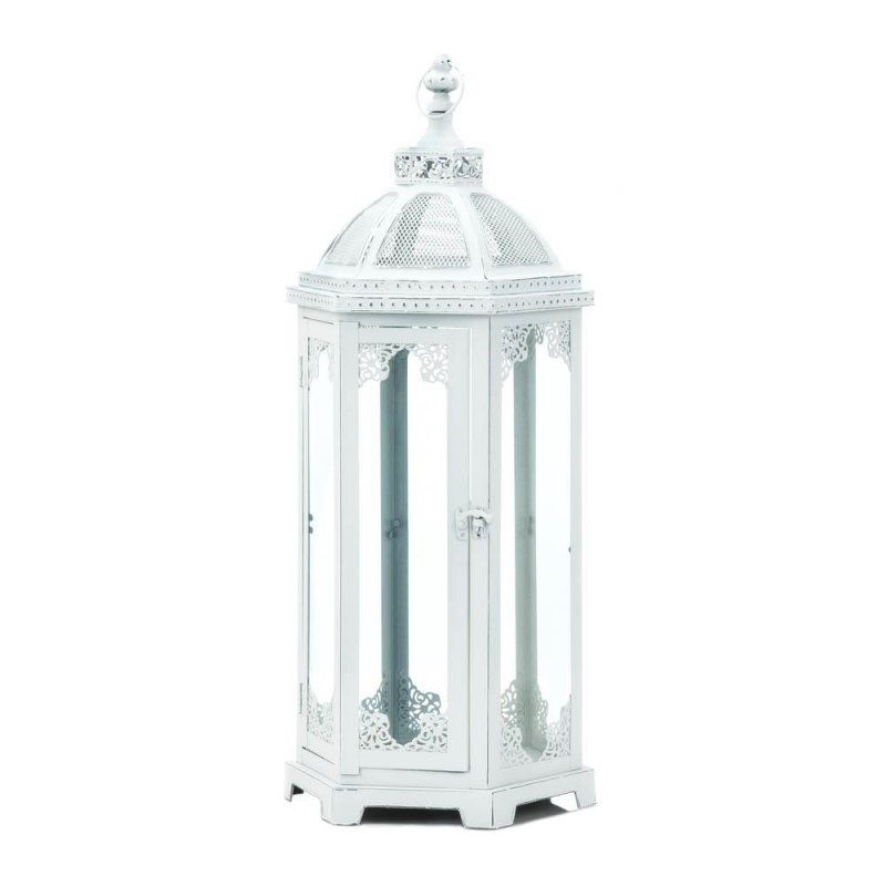 Image 2 of Large Distressed White Chic Grecian Style Candle Lantern over 2 Feet High