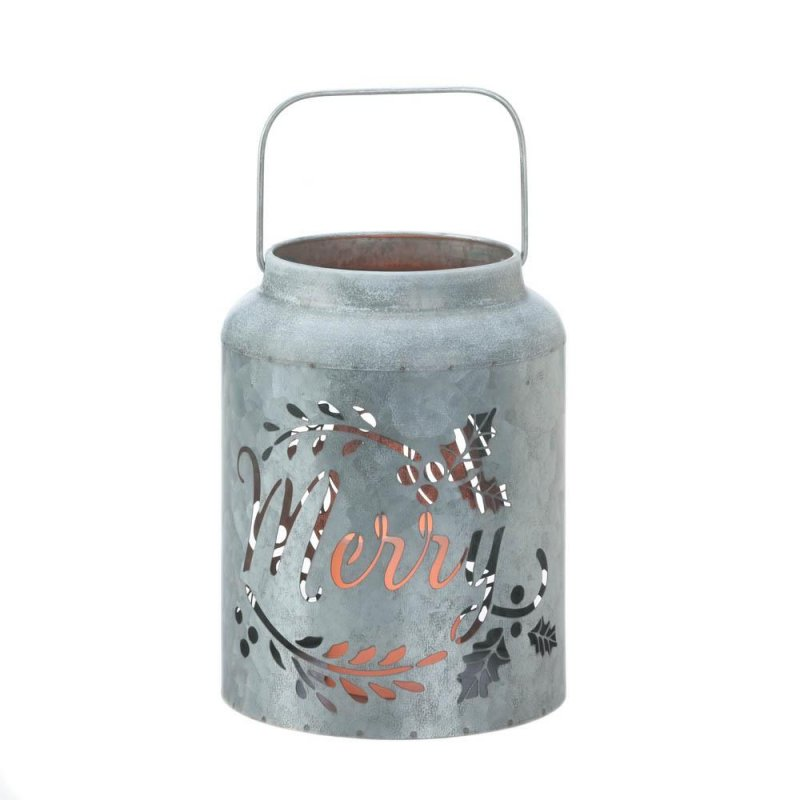 Image 1 of Galvanized Metal Flameless LED Candle Lantern w/ Merry Cutout Holiday Decor