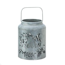 Galvanized Metal Flameless LED Candle Lantern w/ Merry Cutout Holiday Decor