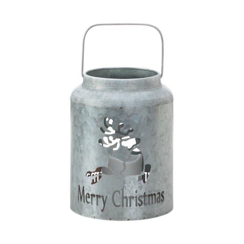 Image 0 of Galvanized Metal Flameless LED Candle Lantern w/ Reindeer Cutout Holiday Decor