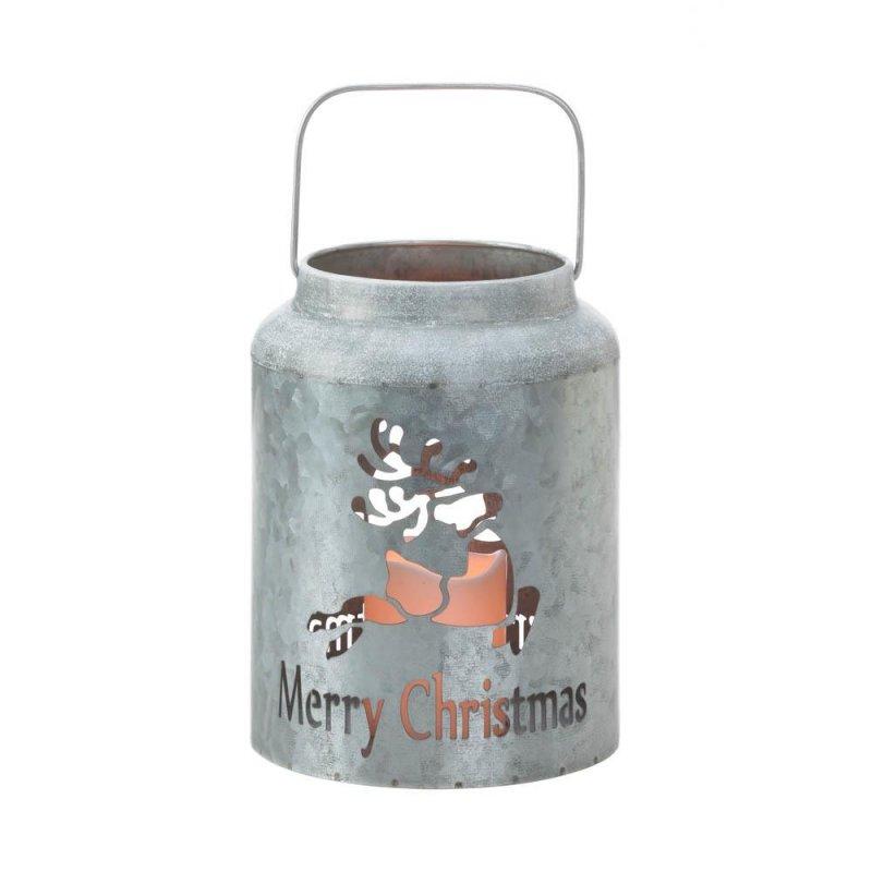 Image 1 of Galvanized Metal Flameless LED Candle Lantern w/ Reindeer Cutout Holiday Decor