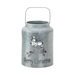 Galvanized Metal Flameless LED Candle Lantern w/ Reindeer Cutout Holiday Decor