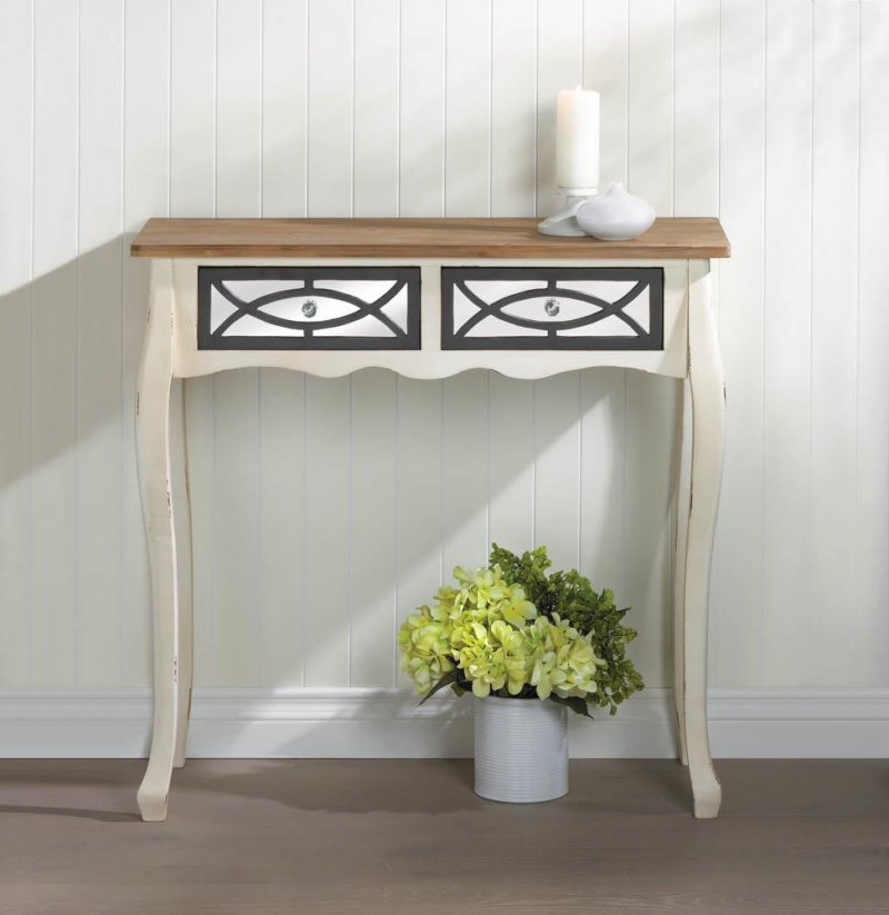 Image 0 of Charming Rustic Console Table with 2 Mirrored Pullout Drawers