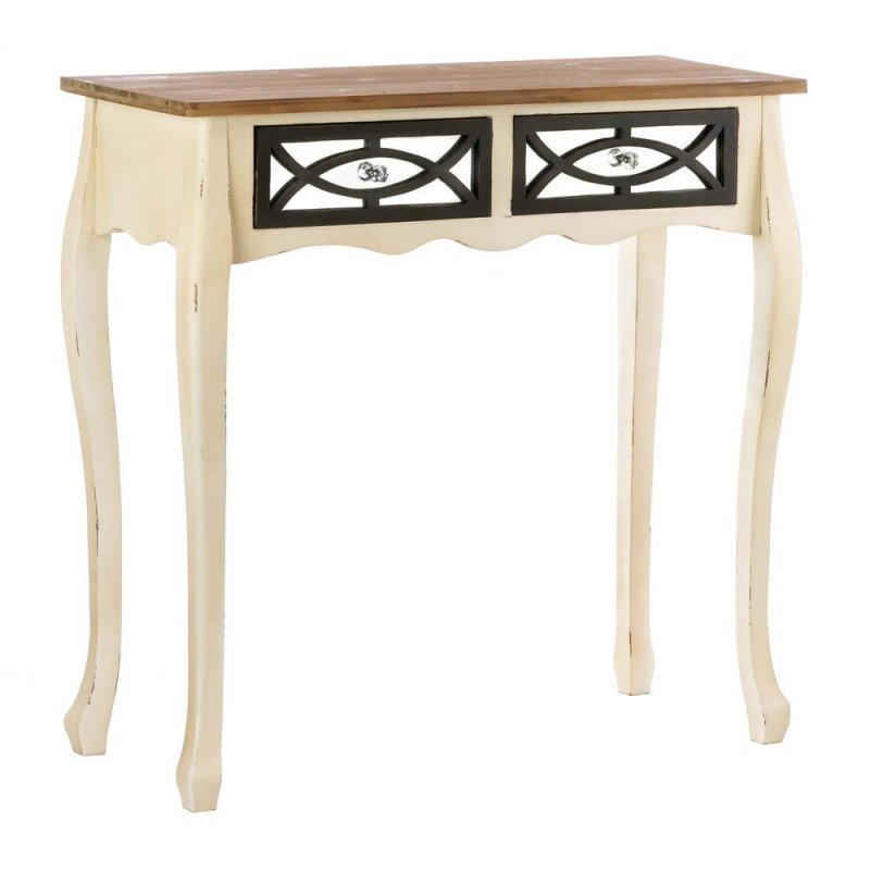Image 1 of Charming Rustic Console Table with 2 Mirrored Pullout Drawers