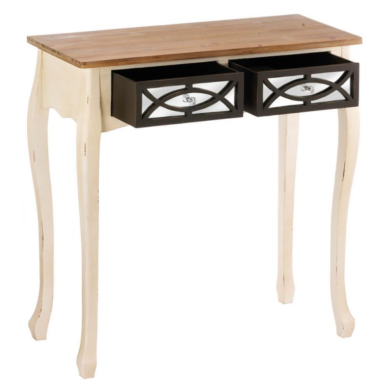 Image 2 of Charming Rustic Console Table with 2 Mirrored Pullout Drawers