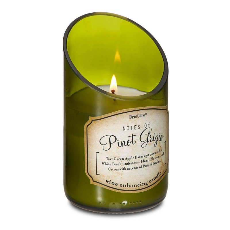 Image 0 of Green Glass Wine Bottle Pinot Grigio Scented Candle Cotton Wick 40 Hrs Burn Time
