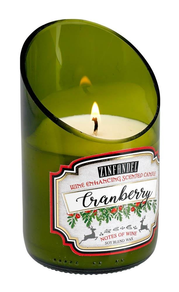 Image 0 of Green Glass Wine Bottle White Cranberry Zinfandel Scented Candle 40 hr Burn Time