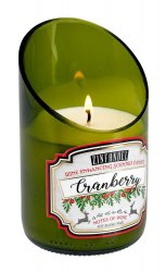 Green Glass Wine Bottle White Cranberry Zinfandel Scented Candle 40 hr Burn Time