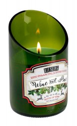 Green Glass Wine Bottle Wine & Pine Riesling Scented Candle 40 hr Burn Time