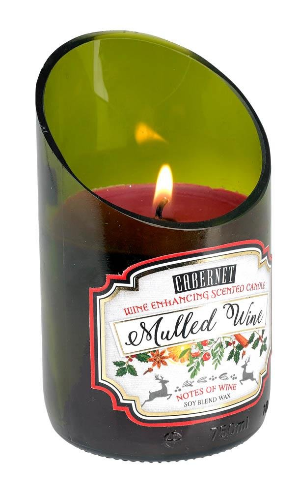Image 0 of Green Glass Wine Bottle Mulled Cabernet Scented Candle 40 hr Burn Time