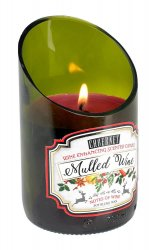 Green Glass Wine Bottle Mulled Cabernet Scented Candle 40 hr Burn Time