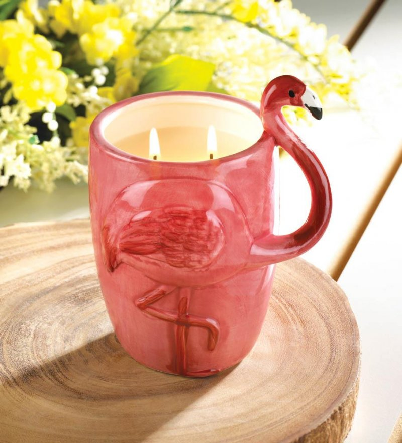 Image 0 of Tropical Scented 2 Wick Candle in Pink Flamingo Ceramic Cup 75 Hour Burn Time