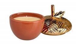Pumpkin Souffle Scented Candle In a Gilded Acorn Ceramic Jar 38 Hour Burn Time