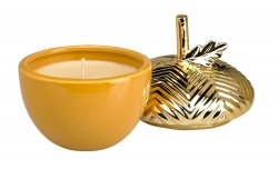 Maple Butter Scented Candle In a Gilded Acorn Ceramic Jar 38 Hour Burn Time