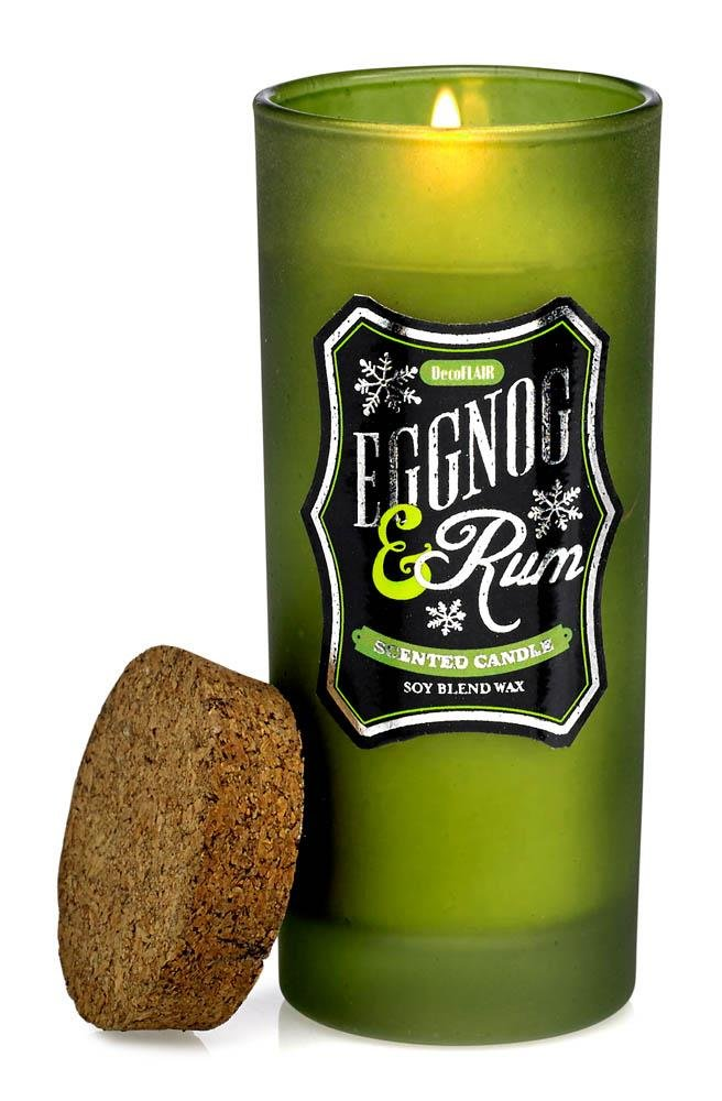 Image 0 of Eggnog & Rum Highball Scented Candles in Green Glass Jar 33 Hour Burn Time