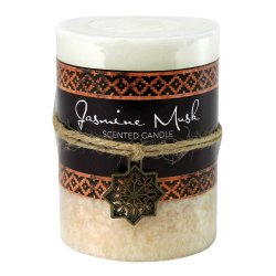 Jasmine Musk Scented Moroccan Inspired Pillar 3x4 Candle  60 Hour Burn Time