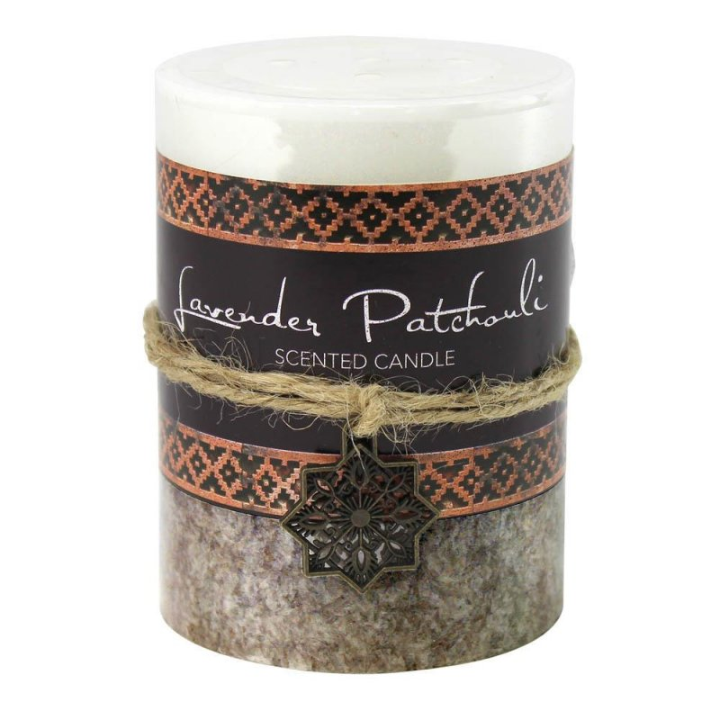 Image 0 of Lavender Patchoui Scented Moroccan Inspired Pillar 3x4 Candle  60 Hrs Burn Time