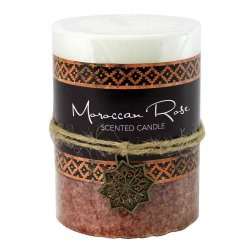 Rose Scented Moroccan Inspired Pillar 3x4 Candle  60 Hours Burn Time