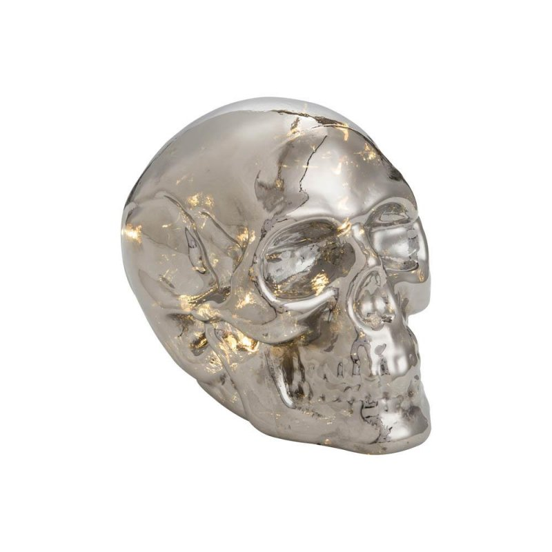 Image 0 of Glass LED Light Up Skull Metallic Silver Finish