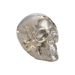 Glass LED Light Up Skull Metallic Silver Finish