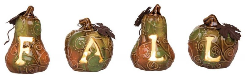 Image 0 of Set of 4 Rustic Light Up Pumpkins that Spell Out Fall