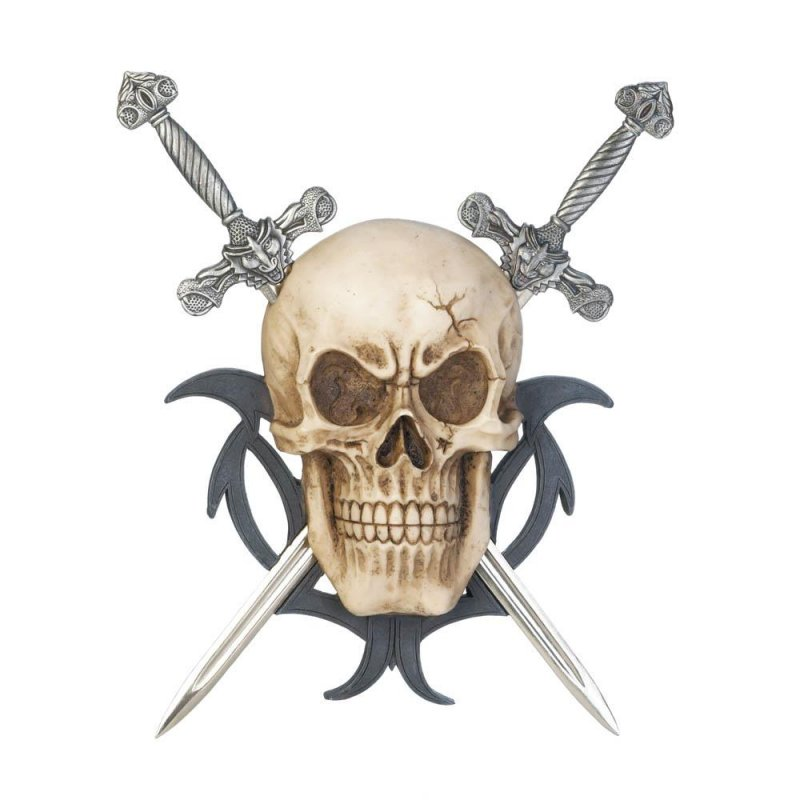 Image 0 of Skull with 2 Swords set on Black Gothic Design Wall Plaque