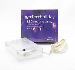 20 LED Copper String Purple Fairy Lights 7 Feet Long