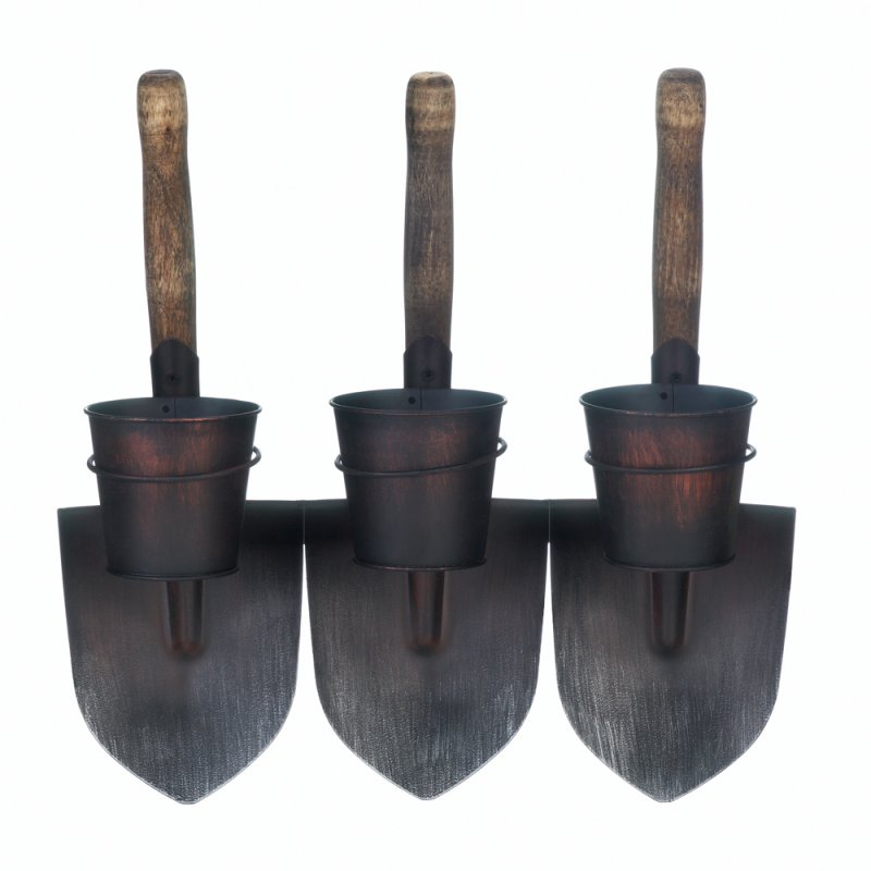 Image 1 of Country Farmhouse Style 3 Shovels Wall Mounted Planters