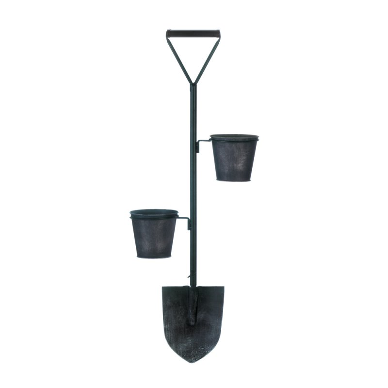 Image 0 of Rustic Farmhouse Style Shovel w/ 2 Flower Pot Planters Wall Mounted