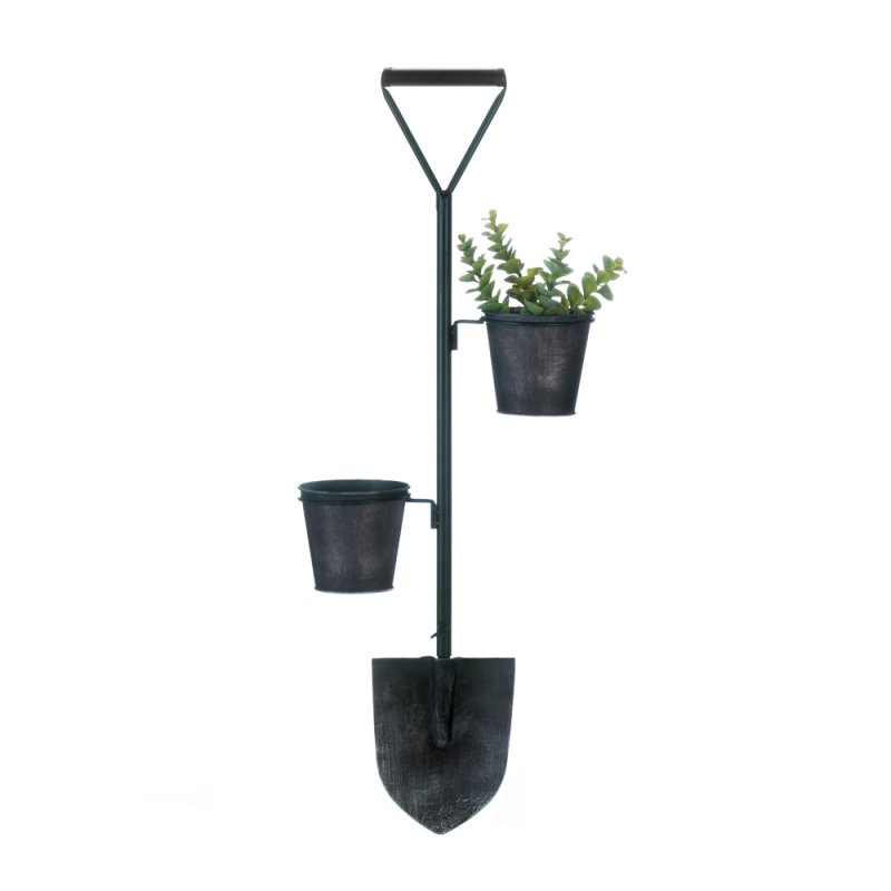 Image 1 of Rustic Farmhouse Style Shovel w/ 2 Flower Pot Planters Wall Mounted