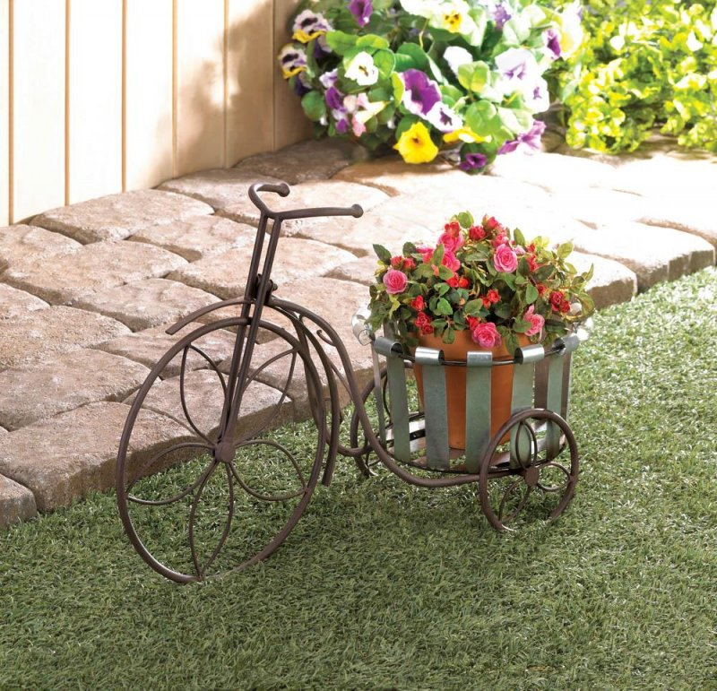 Image 0 of Galvanized Bucket Bike Plant Stand Flower Petal Wheels