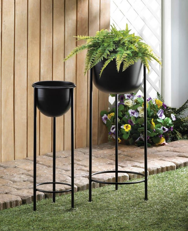 Image 0 of Contemporary Black Bucket Plant Stand Set 1 Large & 1 Small