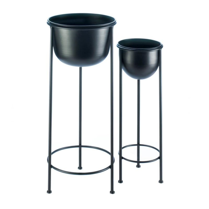 Image 1 of Contemporary Black Bucket Plant Stand Set 1 Large & 1 Small