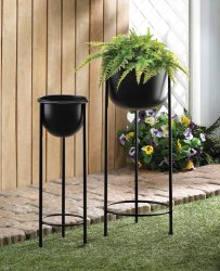 Contemporary Black Bucket Plant Stand Set 1 Large & 1 Small
