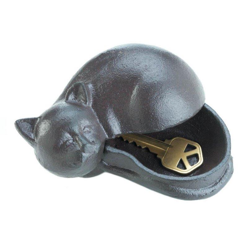 Image 0 of Cast Iron Sleeping Cat Garden Key Hider Figurine Garden Decor