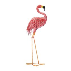 Bright Pink Standing Flamingo Garden Decor Metal 34.6 inches high