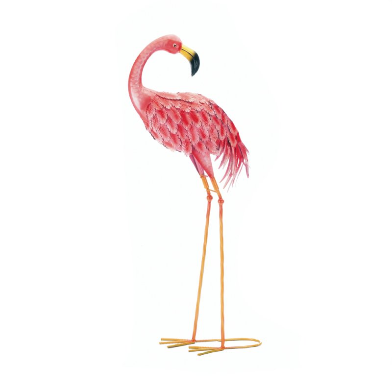 Image 0 of Bright Pink Standing Flamingo Looking Back Garden Decor Metal 33 inches high