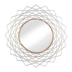 Golden Geometric Wall Mirror Modern Decor